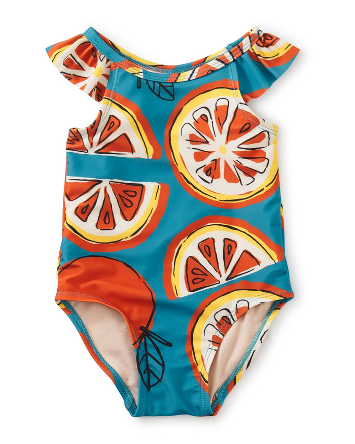 Little tea collection baby girl one-piece baby swimsuit in fresh oranges