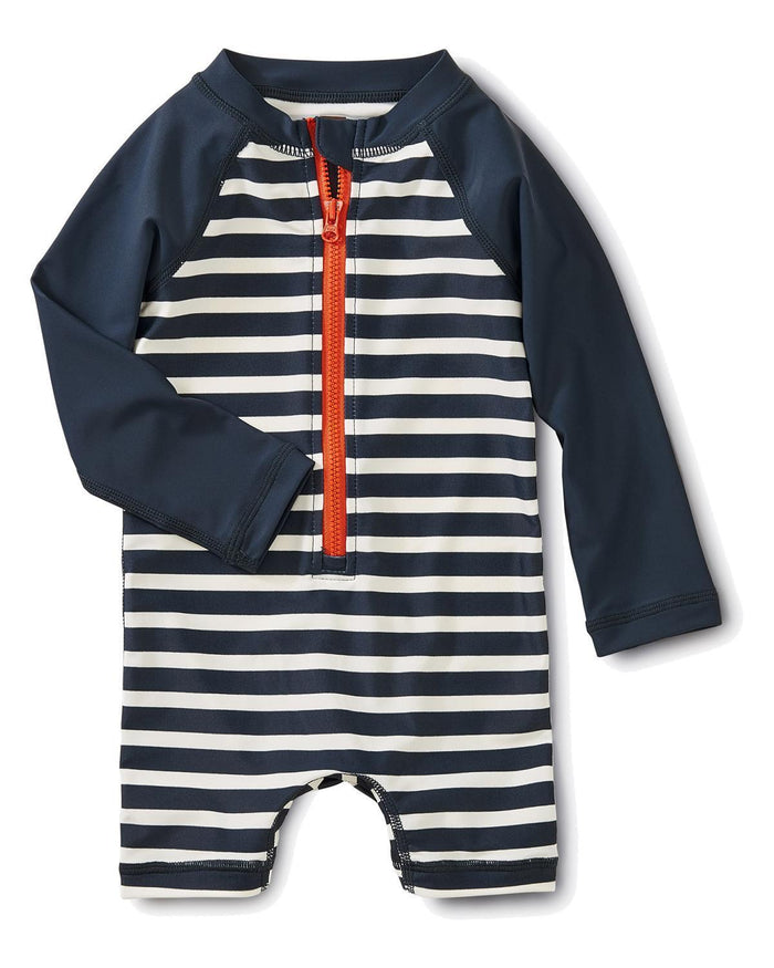 Little tea collection baby boy 3-6 outrigger stripe rashguard one-piece