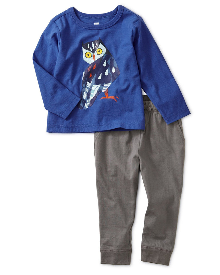 Little tea collection baby boy owl graphic baby jogger set