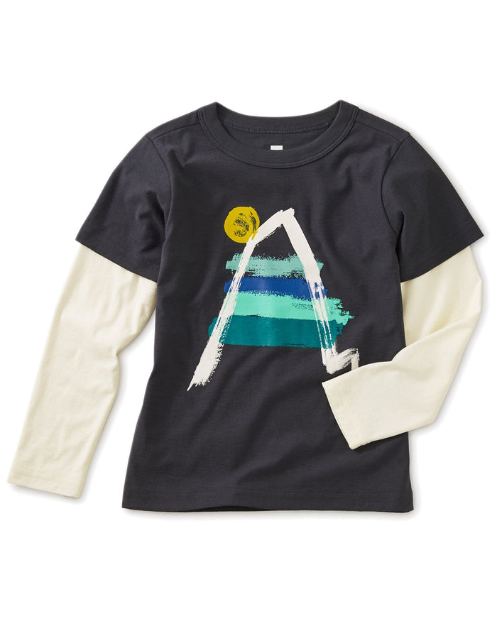 Little tea collection boy painted everest graphic layered tee