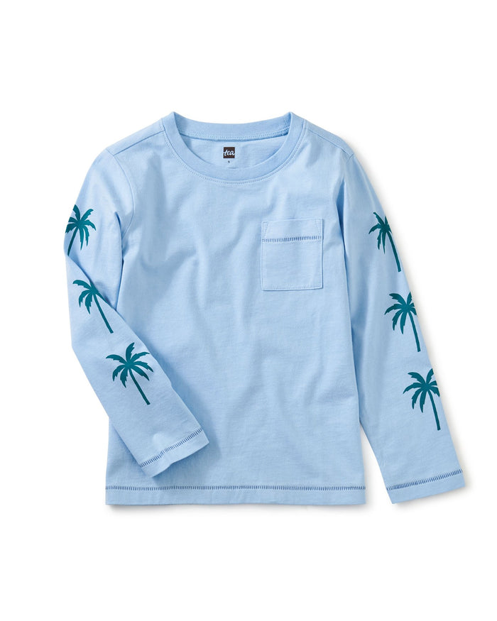 Little tea collection boy palm sleeve graphic tee in placid blue