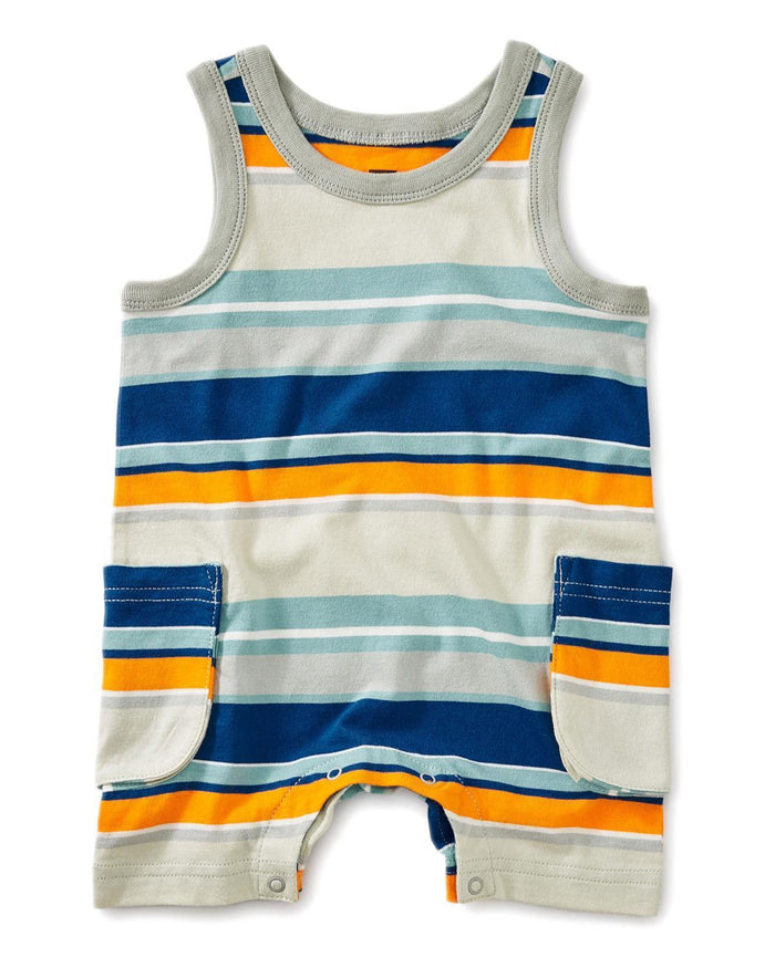 Little tea collection little boy 0-3 patterned tank romper