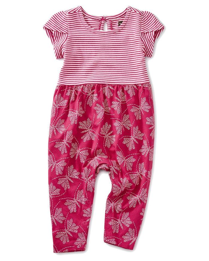 Little tea collection baby girl 0-3 patterned tulip sleeve romper