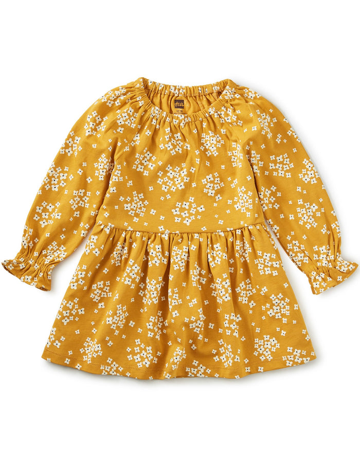 Little tea collection baby girl peasant baby dress in golden wildflowers