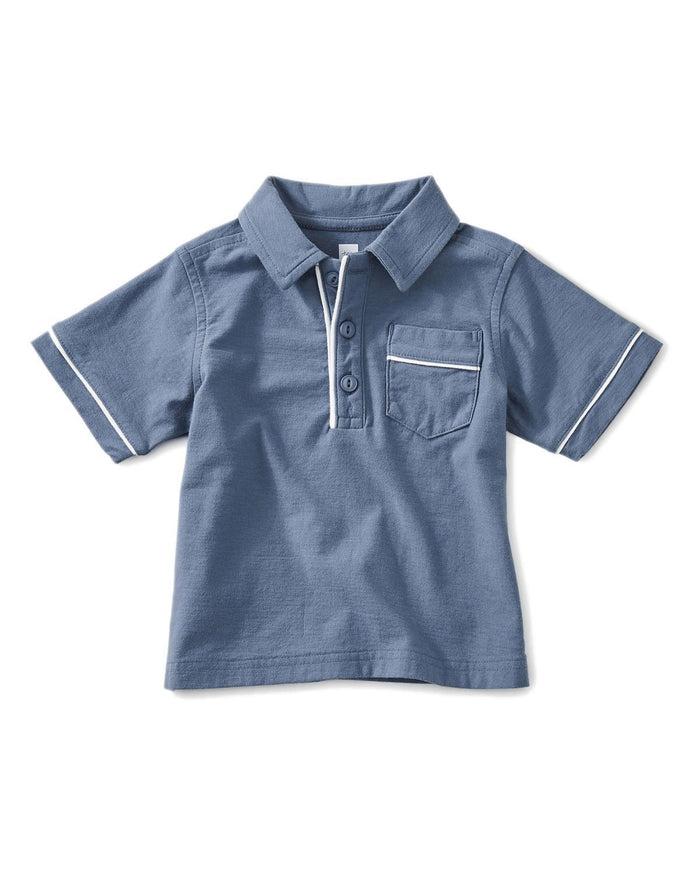 Little tea collection baby boy 12-18 piped baby polo