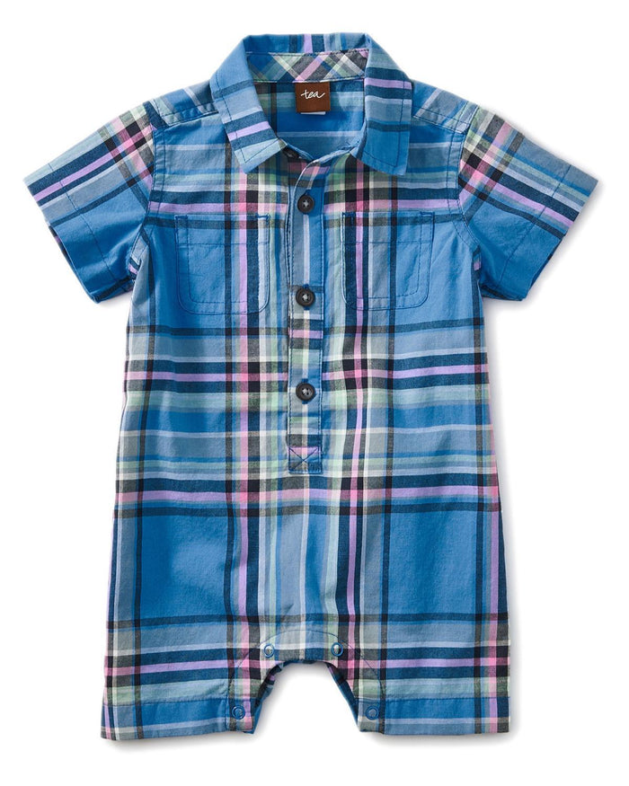Little tea collection little boy 0-3 plaid buttoned romper
