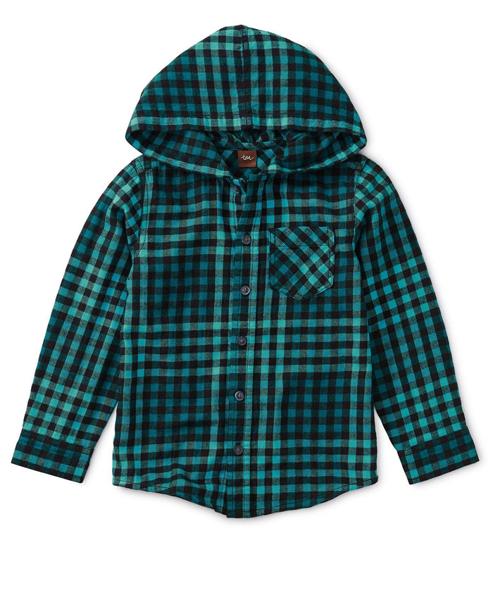 Little tea collection boy plaid hooded button up shirt in bold blue