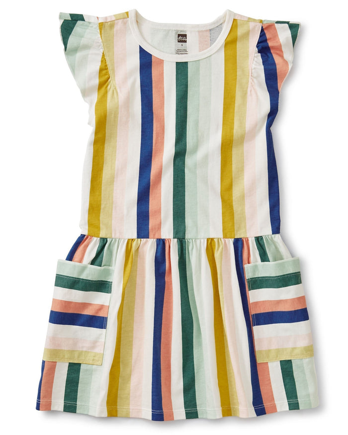 Little tea collection girl pocket dress in chalk