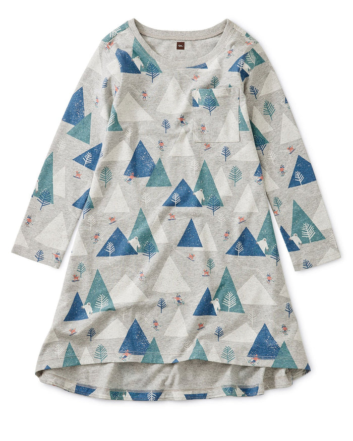 Little tea collection girl pocket dress in himalayan ski