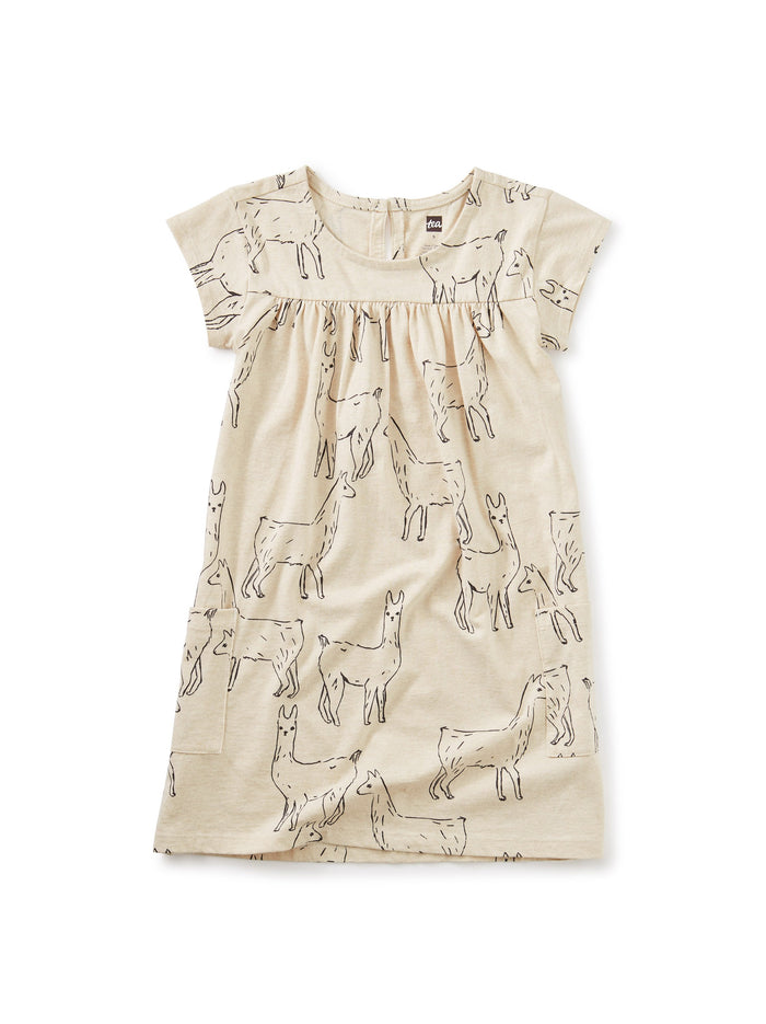Little tea collection girl Pocket Dress in Llama Love