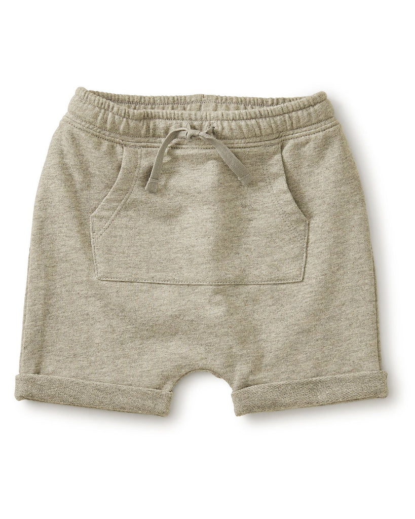 Little tea collection baby boy pocket o' sunshine short in medium heather grey