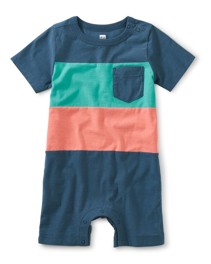 Little tea collection baby boy pop pocket baby shortie in indian teal