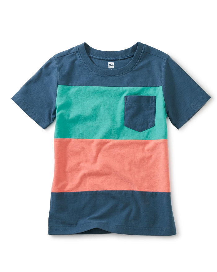 Little tea collection boy pop pocket printed tee in indian teal