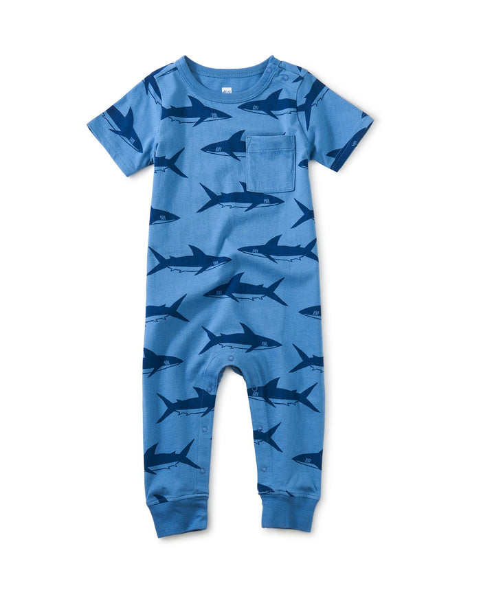 Little tea collection baby boy pop pocket romper in bull shark