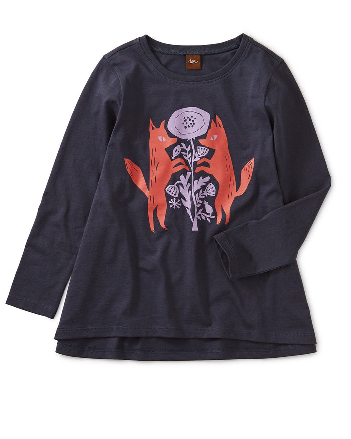Little tea collection girl poppy foxes graphic twirl top