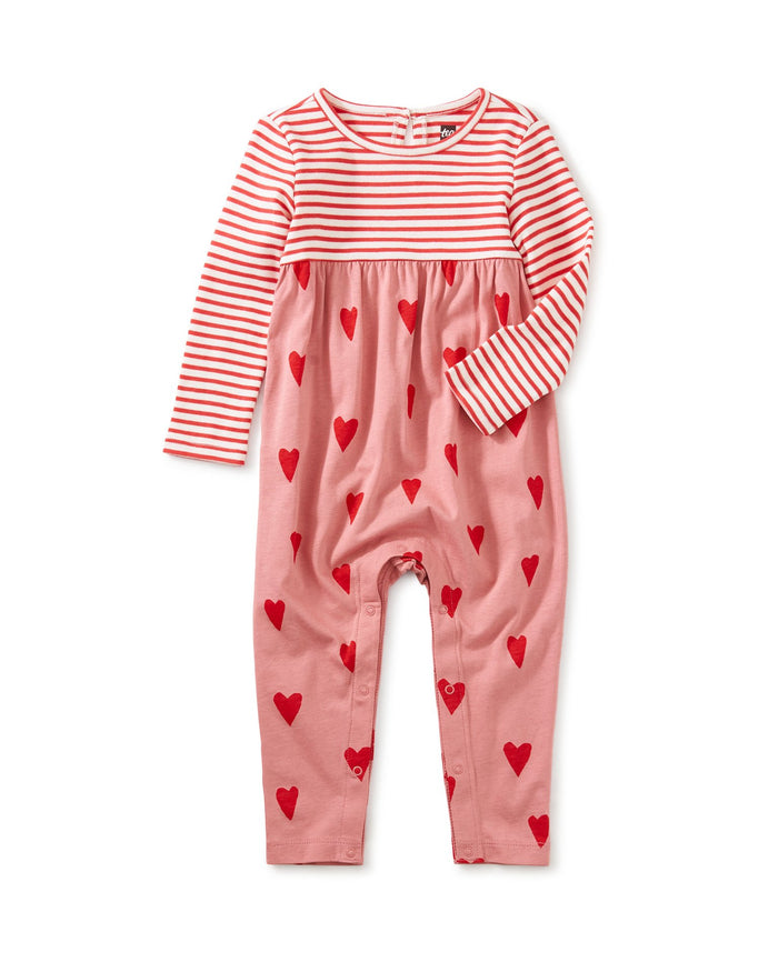 Little tea collection baby girl print mix baby romper in sweethearts