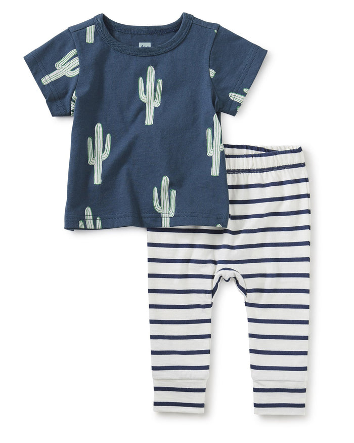 Little tea collection baby boy print mix tee baby set in cool cacti
