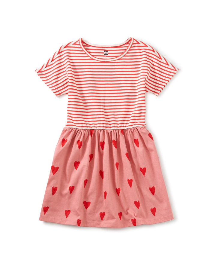 Little tea collection girl print mix twirl dress in sweethearts