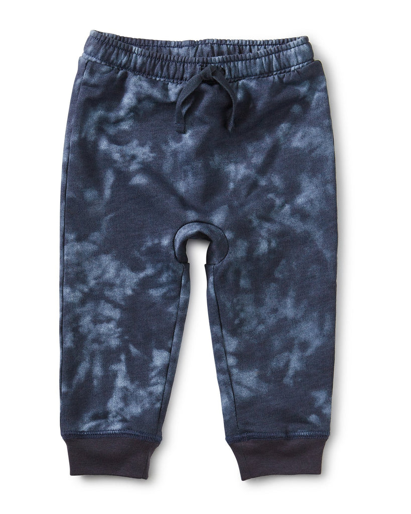 Little tea collection baby boy printed baby joggers in deep blue tie dye