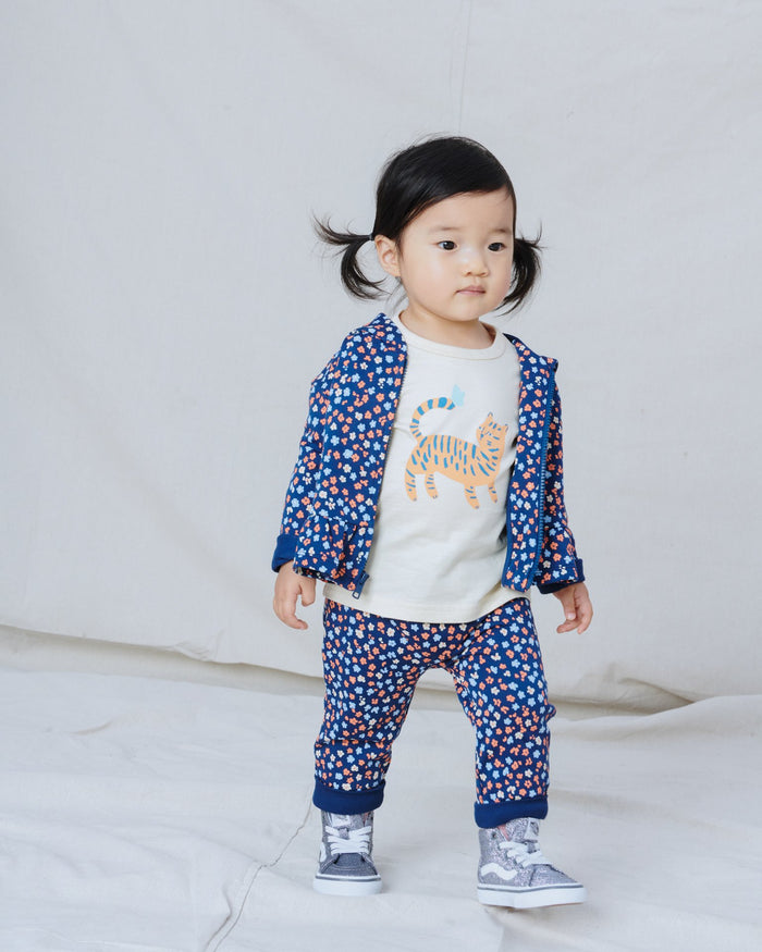 Little tea collection baby girl printed baby joggers in mountainside wildflowers