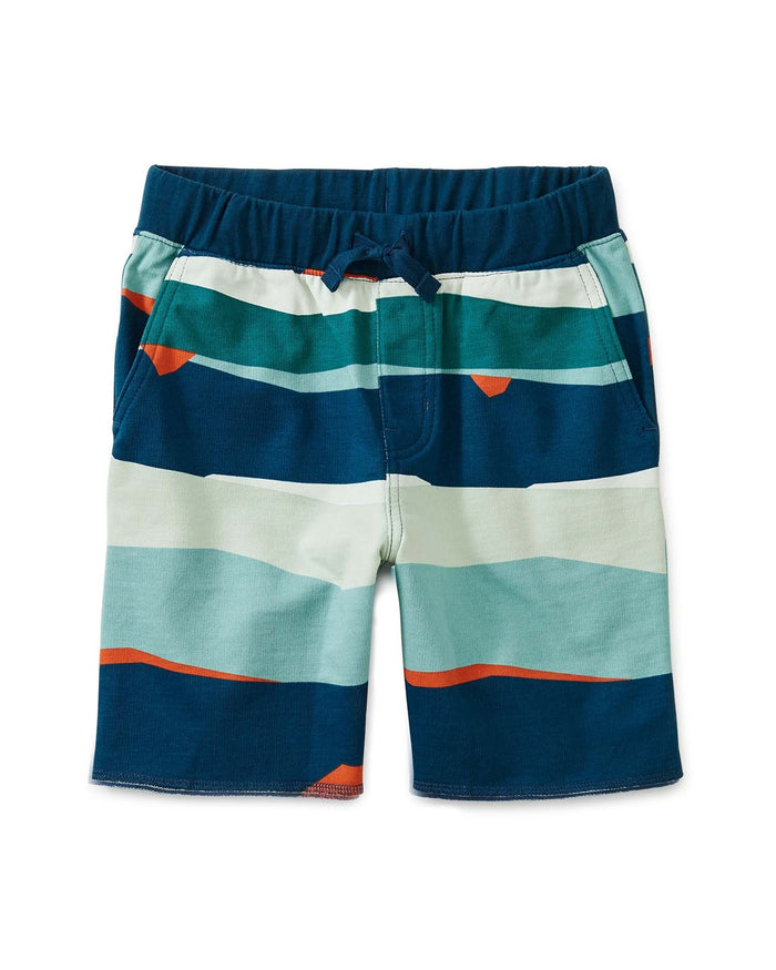 Little tea collection boy printed cruiser shorts in ocean waves