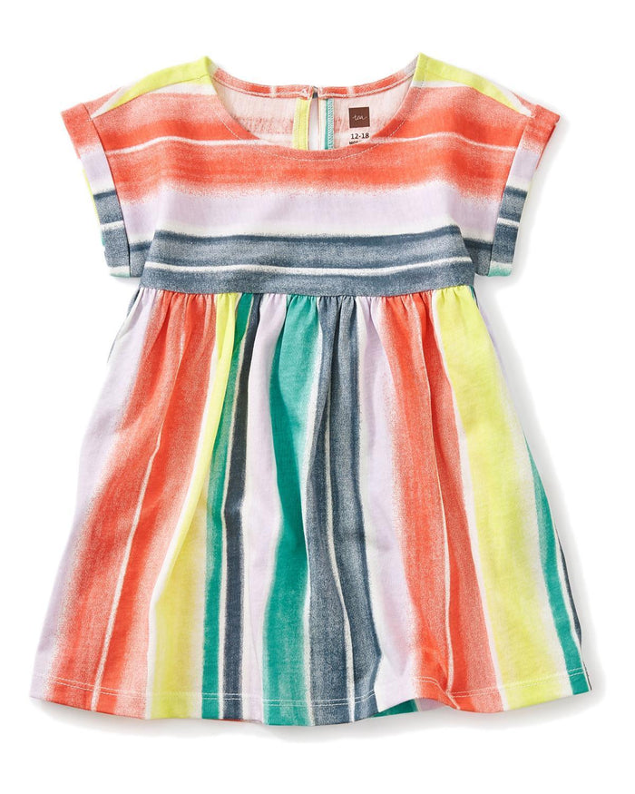 Little tea collection baby girl 12-18 printed empire baby dress in watercolor stripe