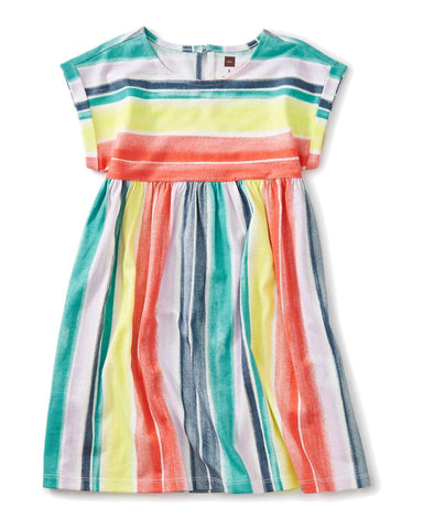 Little tea collection girl 5 printed empire dress in watercolor stripe