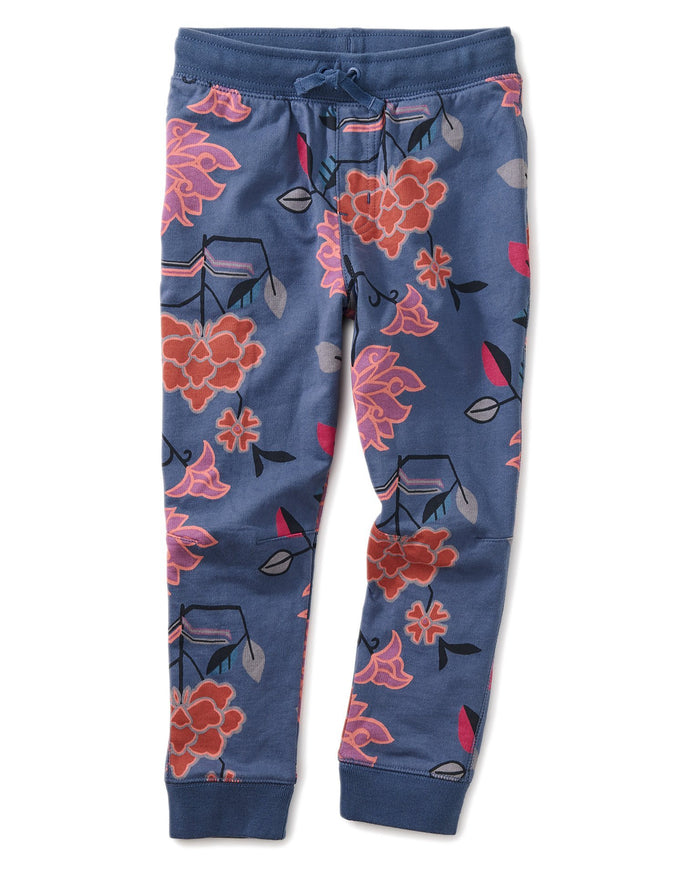 Little tea collection girl printed french terry joggers in large tibetan floral