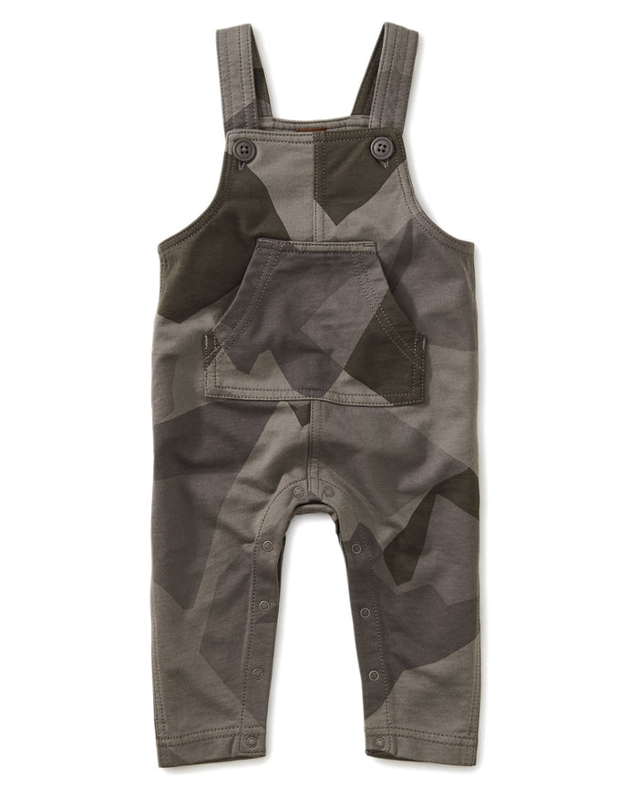 Little tea collection baby boy printed french terry overall in mountain camo