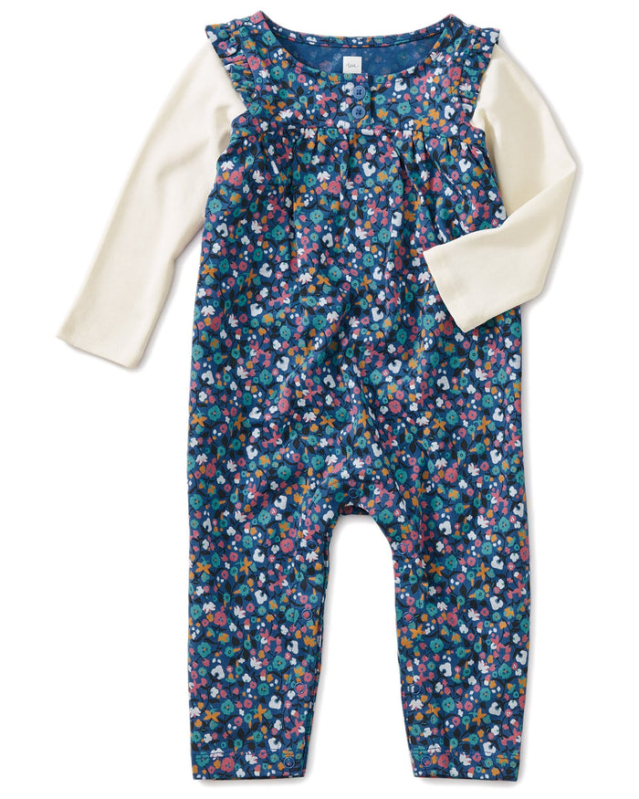 Little tea collection baby girl printed henley layered sleeve romper in sunrise floral