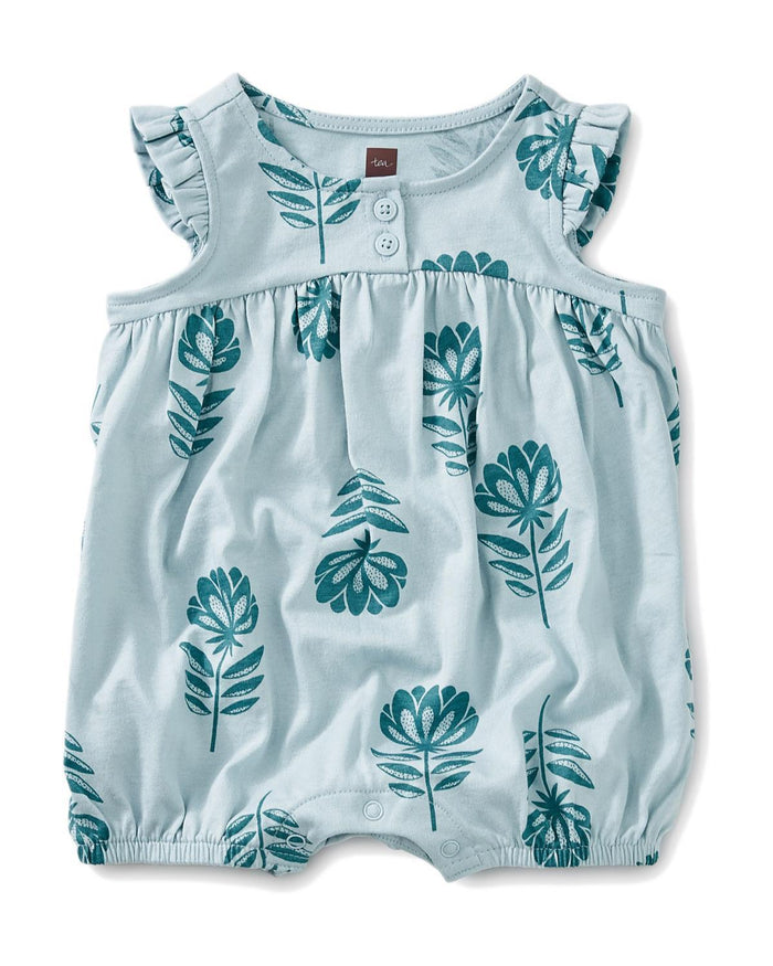 Little tea collection baby girl 0-3 printed henley romper