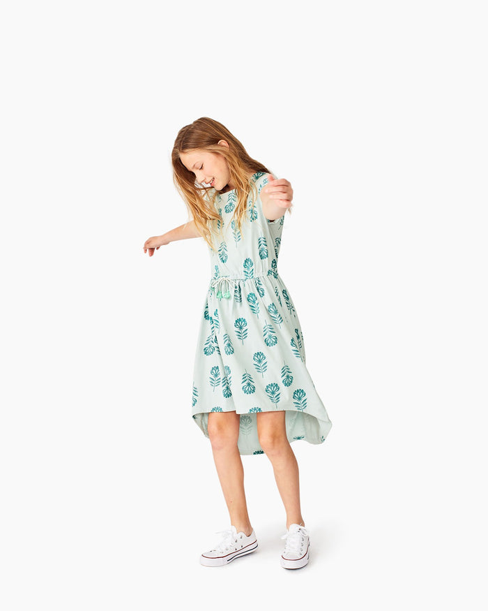 Little tea collection big girl 10 printed hi-lo tie waist dress