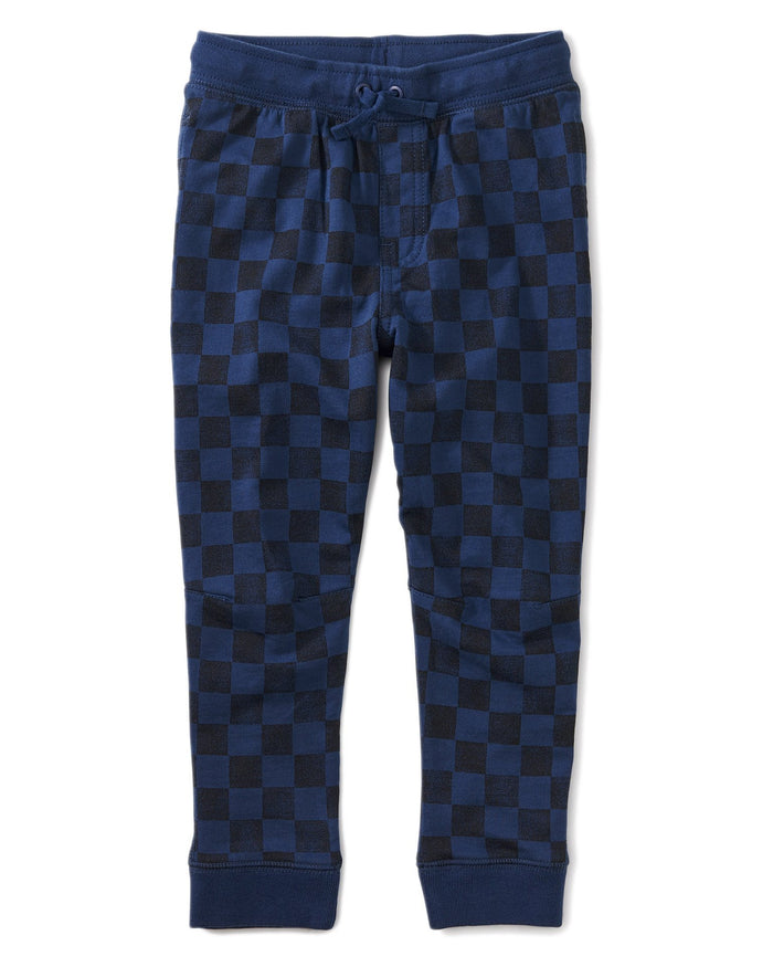 Little tea collection boy printed joggers in checkerboard