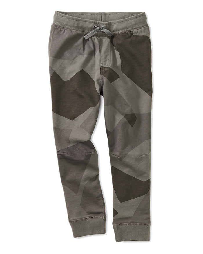 Little tea collection boy printed joggers in mountain camo