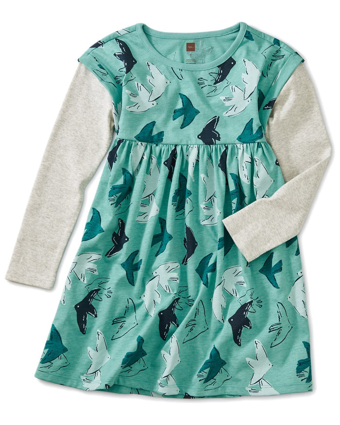 Little tea collection girl printed layered sleeve dress in flight of fancy