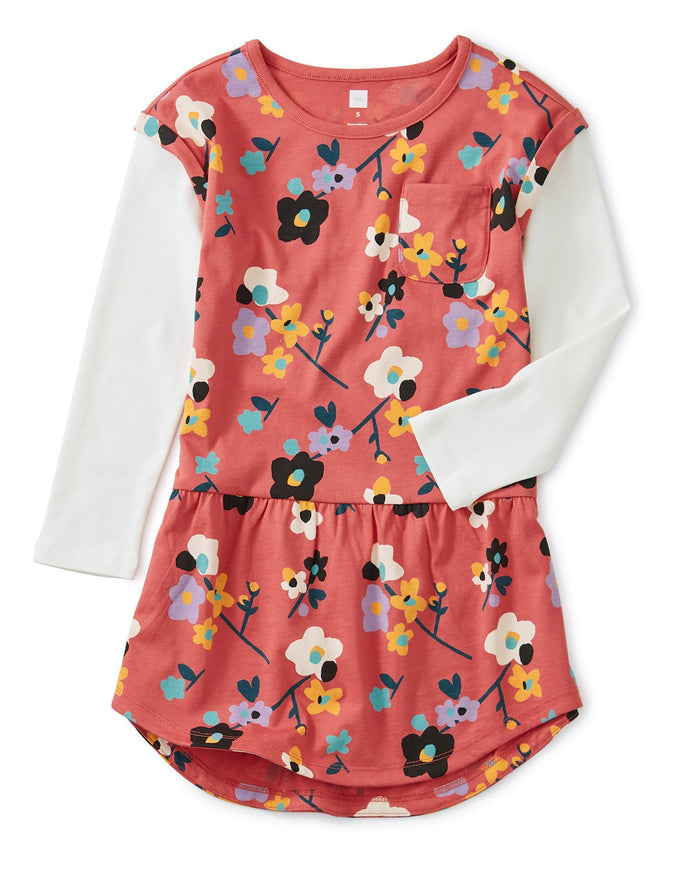 Little tea collection girl printed layered sleeve pocket dress in himalayan blossoms