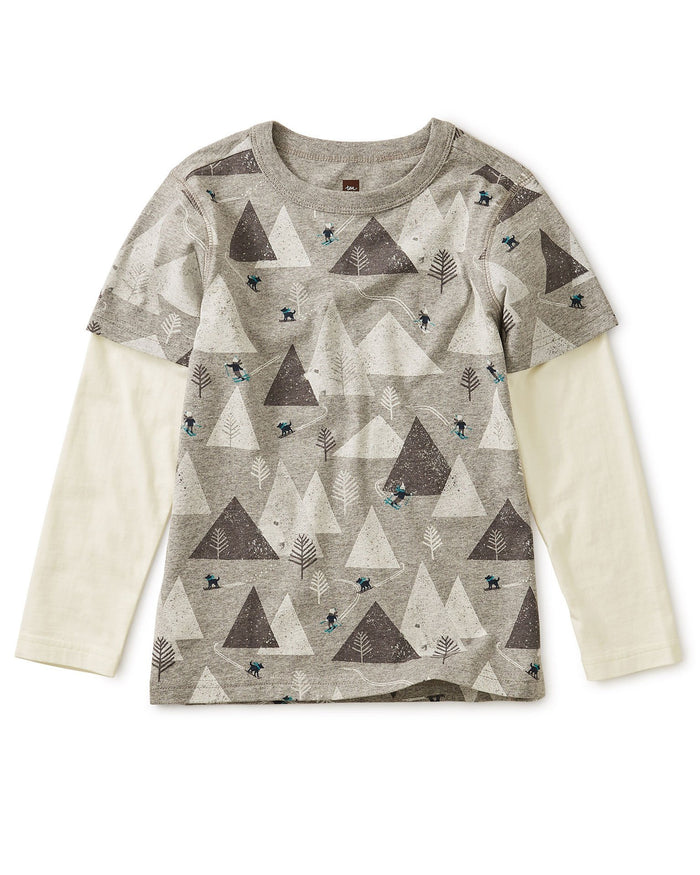 Little tea collection boy printed layered sleeve tee in himalayan ski