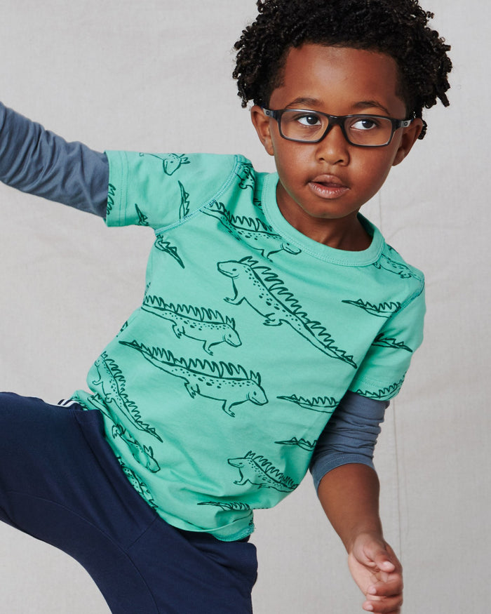 Little tea collection boy printed layered sleeve tee in iguana