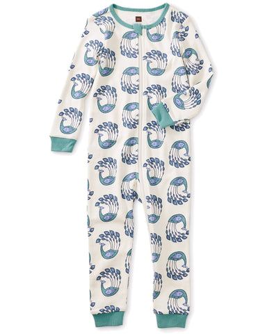 Little tea collection baby girl printed long sleeve baby pajamas in peacock strut