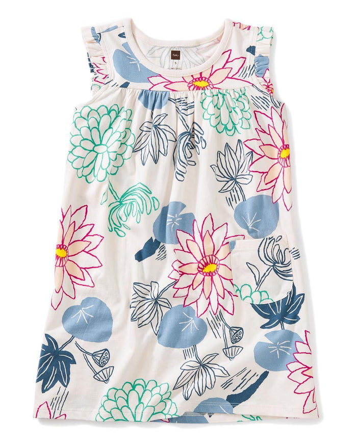 Little tea collection girl 2 printed mighty mini dress in lilypad floral