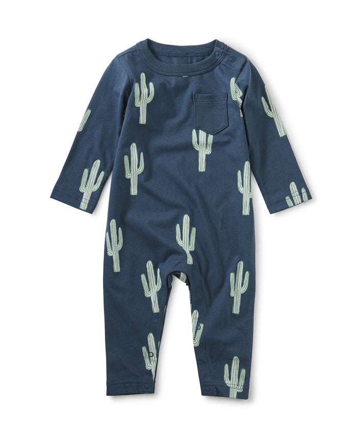Little tea collection baby boy Printed Pocket Romper