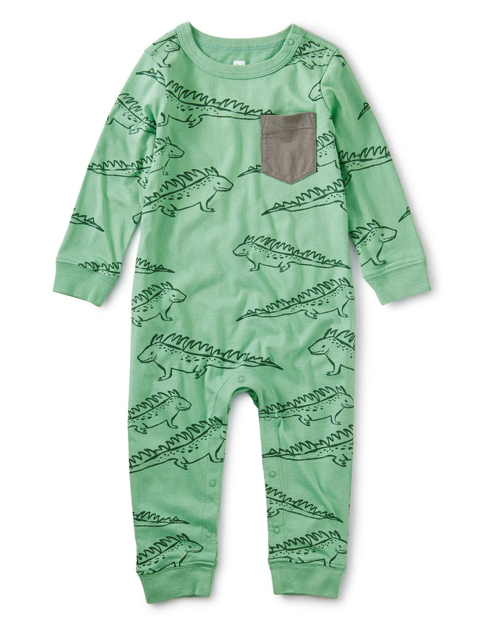 Little tea collection baby boy printed pocket romper in iguana