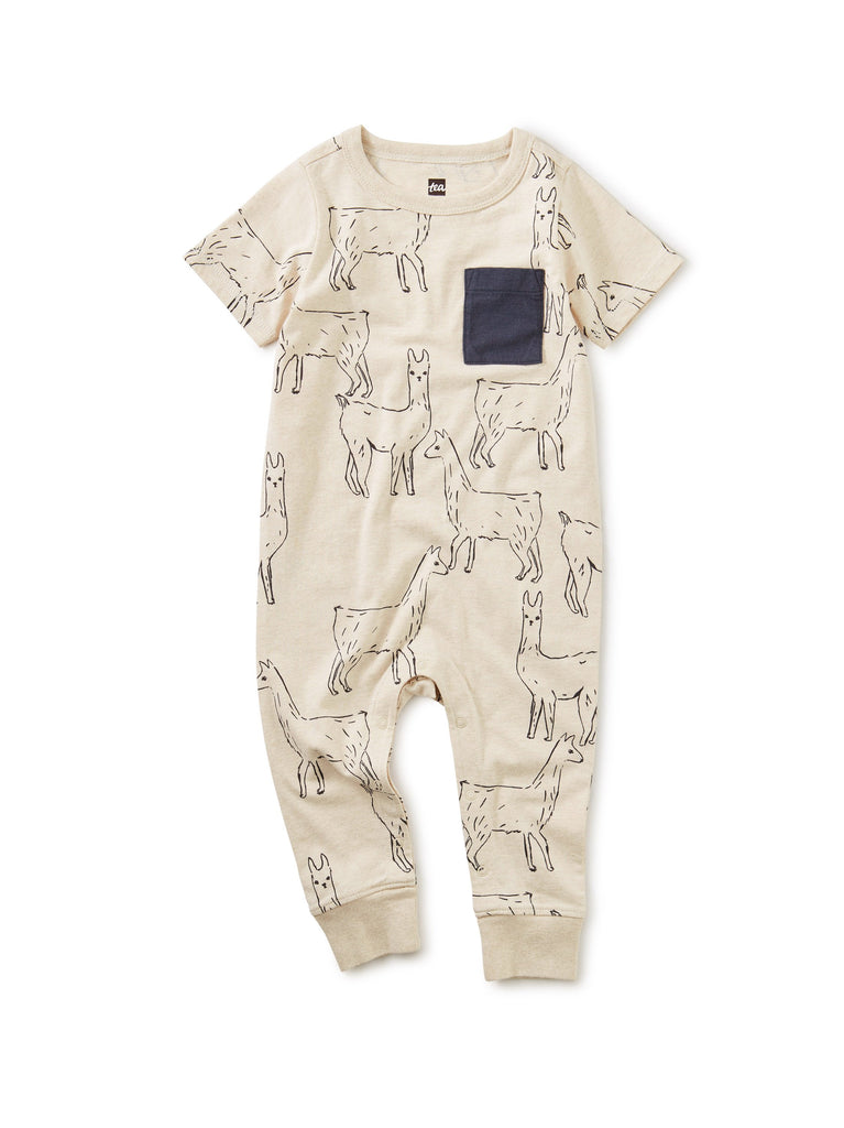 Little tea collection baby boy Printed Pocket Romper in Llama Love