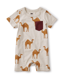 Little tea collection baby printed pocket romper in oasis camels + ash