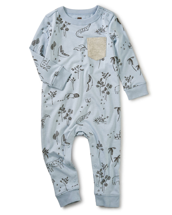Little tea collection baby boy printed pocket romper in peruvian pals