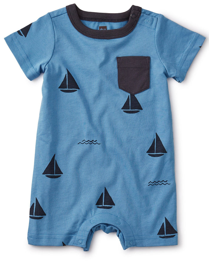 Little tea collection baby boy printed pocket romper in sailboats