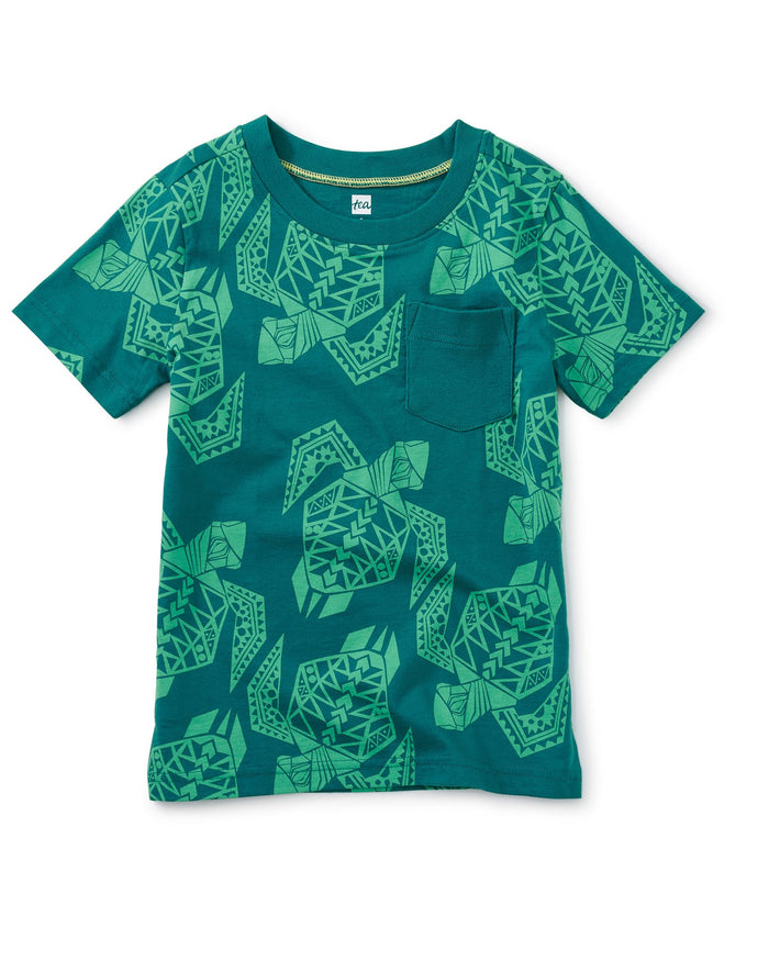 Little tea collection boy printed pocket tee in iberia turtles