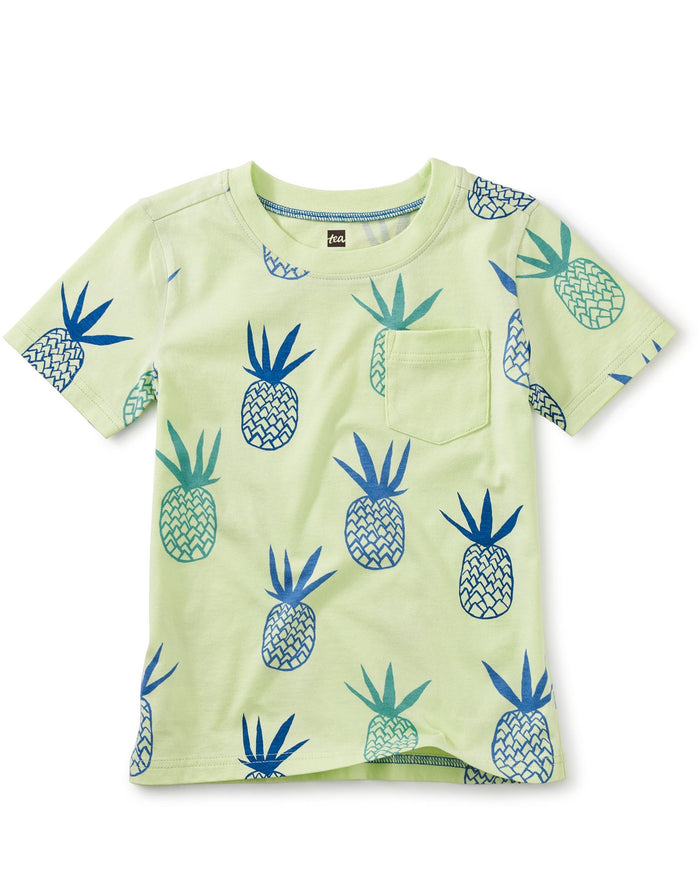 Little tea collection boy printed pocket tee in pineapples in portugal