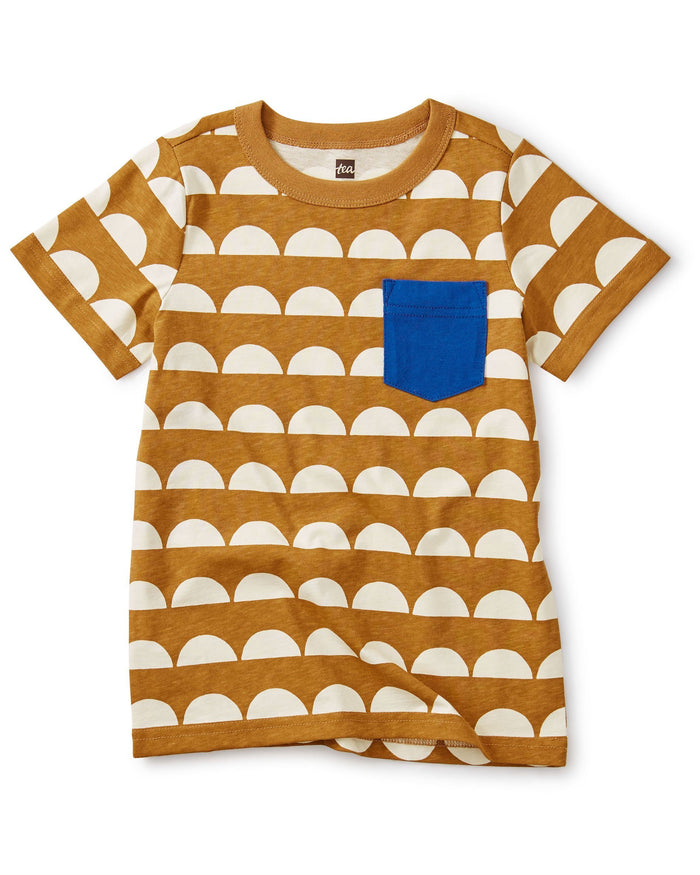 Little tea collection boy printed pocket tee in sun tile + whole wheat