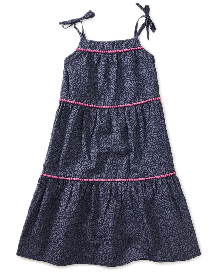 Little tea collection girl 10 printed pom pom dress